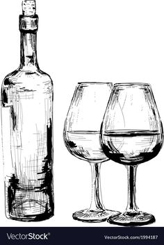 Bottle of wine and two glasses Royalty Free Vector Image , Wine Glass Drawing, Bottle Drawing, Still Life Sketch, Still Life Drawing, Pencil Art Drawings, Art Drawings Sketches, Scribble Art, Object Drawing, Charcoal Art