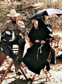 Clint Eastwood and Shirley MacLaine on the set of Two Mules for Sister Sara (1970).