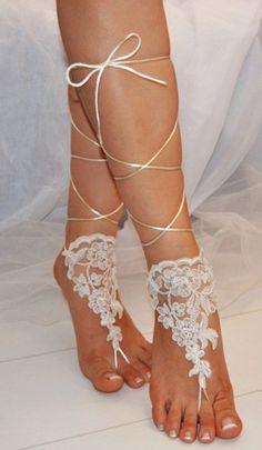 Handmade Beach shoes Bridal sandals Wedding Bridal Barefoot sandles Ivory a | Handmadein - Wedding on ArtFire
