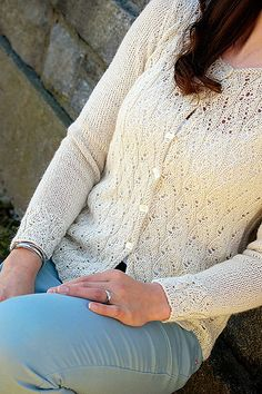 Ravelry: Olivetti Cardie pattern by Hélène Rush - one of my new designs for fall (but available now) using a new yarn called Cria Lace.