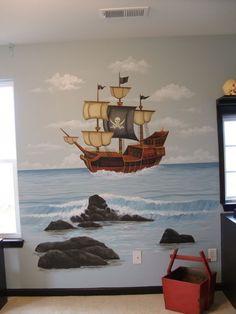 Boy's Pirate Room - Mural Idea in Columbia SC Kids Room Murals, Murals For Kids, Bedroom Murals, Kids Bedroom, Wall Murals, Kids Rooms, Pirate Bathroom, Pirate Nursery, Nautical Theme