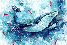 Watercolor Whale illustration by Librebird on @creativemarket