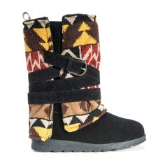 Black faux suede winter boot with a knit tribal patterned upper and faux suede black buckle wrap.