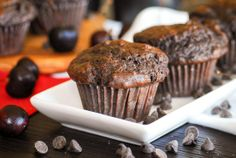 Chocolate Cherry Bomb Muffins.   Not super healthy but pretty darn appealing.