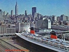The France of 1962, last great flagship of The French Line, pictured at Pier 88, New York City. Date unknown.