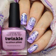 piCture pOlish 'Twinkle, Bombshell + White Wedding' marble gradient nails by Nina! Shop on-line: www.picturepolish.com.au