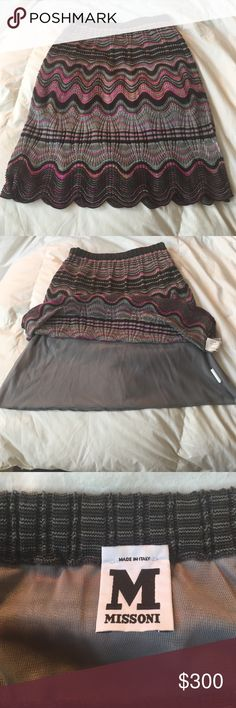 🚨SALE🚨 MISSONI ZIG ZAG SKIRT SPARKLE THREADS 2 Gorgeous never worn MISSONI Gorgeous knee- length stereotypical Zig Zag pattern Missoni is known all over the world for.  LOOK AT MY OTHER MISSONI LISTINGS FOR A TANK THAT GOES GREAT WITH THIS OR ON ITS OWN AND A GREAT STRAPPY SEXY SUMMER DRESS. Iridescent silver sparkly threading throughout. 39% Merino wool 33% Viscose 22% Acetate 3% Polyester 3% Nylon. Fully lined with sheer scalloped hem. Elasticized waistband. Made in Italy Missoni Skirts…