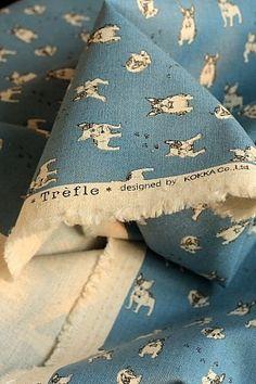 Japanese Fabric Kokka Cotton Linen Blended - French Bulldog - Half Yard
