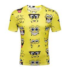 d83f52aab096 Cartoon T-Shirt For Men T Shirt 3D Print Spongebob Short Sleeve T Shirt  Summer Tops
