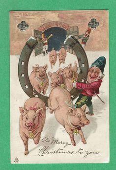 Fantasy PIGS w/COLLARS, jumping thru HORSESHOE held by DWARF elves. X-MAS CLOVER