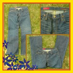 """$ale price. NWOT AG's 'the Angel' denim jeans; size 31 new (inseam 33""""), by AG, 'the Angel', have a 5 pocket design w/zip fly/button closure. They are a dark wash with brass toned hardware, contrast stitching w/subtle fading & whispering. Composed of 97% Cotton/3% Lycra giving them a slender fit through the knees & a gently flared hem. AG Adriano Goldschmied Jeans Boot Cut"""