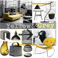 """Yellow and Grey"" by szaboesz on Polyvore"