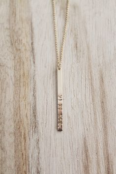 Roman numeral vertical bar necklace, bar necklace, Roman numerals, gold bar necklace, minimalist necklace by CallieJewelry on Etsy https://www.etsy.com/listing/291790457/roman-numeral-vertical-bar-necklace-bar
