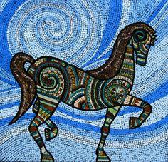 Pony Mosaic By Irina Charmy Mosaic Crafts, Mosaic Projects, Mosaic Art, Mosaic Glass, Mosaic Tiles, Stained Glass, Glass Art, Mosaic Stepping Stones, Cement Art