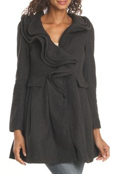 RYU: Ruffle Jacket In Charcoal Gray