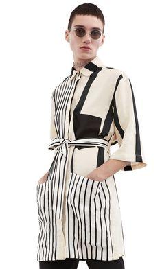Acne Studios Cabell linen str wide black Linen shirt dress