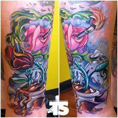 Vince Villalvazo at Mystic Owl Tattoo in Marietta, Georgia
