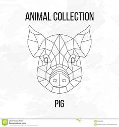 Illustration about Pig swine hog sow head geometric lines silhouette on white background vintage design element. Illustration of drawing, retro, muzzle - 69905603 Geometric Quilt, Geometric Embroidery, Geometric Lines, Line Art Design, Pin Art String, String Art Patterns, Colorful Drawings, Vector Design, Illustration