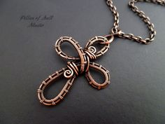 Copper woven wire cross pendant necklace / wire wrapped jewelry by Pillar of Salt Studio