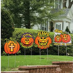 Check this out on our store 4 Halloween Christian Pumpkin Yard Stakes Check it out here! [product-url