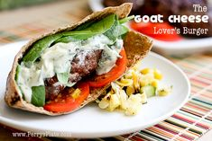 The Goat Cheese Lover's Burger...You can use any kind of ground meat you prefer or Veggie Crumbles by morning star to make it vegetarian.