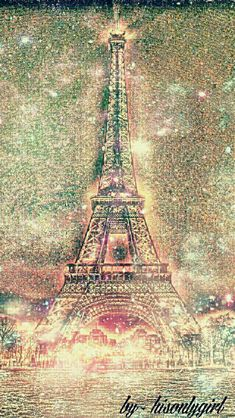 Eiffel Tower sparkle galaxy wallpaper I created for the app CocoPPa