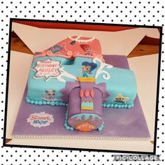 Shimmer and shine number 4  birthday cake