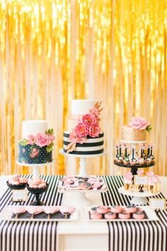 Modern Glam Kate Spade Birthday Party. Love the gold glitter wall as a backdrop