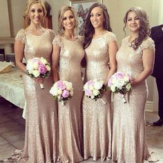 Shinning Cap Sleeve Champagne Gold Sequin Small Round Neck Long Cheap Bridesmaid Dresses for Wedding Party, WG160 The long bridesmaid dresses are fully lined, 4 bones in the bodice, chest pad in the b