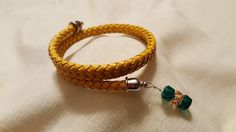 Yellow Twisted Leather and Swarovski ™ Crystal Wrap Bracelet - NDSU Bison Colors