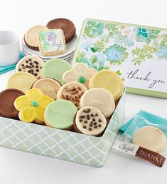 Thank You Gift Tin from Salted Caramel Cookies, Butter Pecan Cookies, Chocolate Cookies, Send Cookies, Cut Out Cookies, Gourmet Cookies, Gourmet Desserts, Tin Gifts, Cookie Gifts