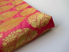Gold pink parrot gold flowers silk brocade fabric nr 717 - 1/4 yard | fat quarter by SilksByUmf on Etsy