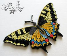 Mirror with quilling by pinterzsu on DeviantArt 3d Quilling, Quilling Butterfly, Paper Quilling Flowers, Paper Quilling Cards, Paper Quilling Jewelry, Paper Quilling Patterns, Quilled Paper Art, Quilling Tutorial, Quilling Ideas