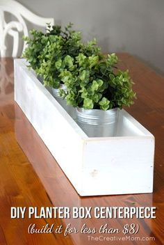 Dress up your table with this fun and easy Planter Box Centerpiece, which can be built for less than Planter Box Centerpiece, Wood Planter Box, Planter Table, Wood Planters, Table Centerpieces, Centerpiece Ideas, Garden Planters, Planter Ideas, Flower Planters