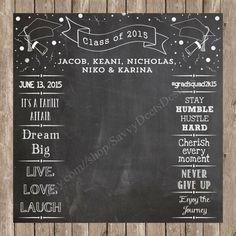Complete Custom Chalkboard  Graduation Photo Backdrop Printable - Photobooth Backdrop