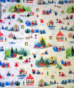 NEW-UNBRANDED-VINTAGE-CHRISTMAS-PRINT-FLANNEL-FABRIC-FOR-QUILTS-CRAFTS-1-5-YDS