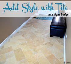 DIY beautiful travertine tile floors in a pattern (herringbone inserted) to make your budget floors look extraordinary.