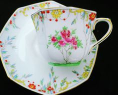 ROYAL-DOULTON-OCTAGON-PAINTED-PINK-ROSES-TEA-CUP-AND-SAUCER