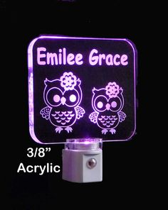 """#Personalized #owl #LED #Nightlight Made with 3/8"""" clear acrylic, thicker than the industry standard which gives it more of a Glass like appearance. 8 LED color Choices"""
