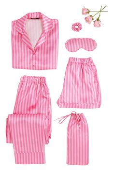 Stripe Print 5 Piece PJ Set   boohoo Sleepwear Sets, Sleepwear Women, Pyjamas, Pjs, Pajama Party Outfit, John Kim, Midi Skater Skirt, Skirt Co Ord, Flare Top