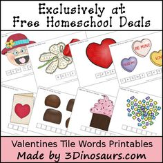 Valentine Tile Word Printables (free; from 3 Dinosaurs)