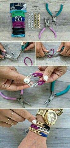DIY bracelet    (hair ties and chain)