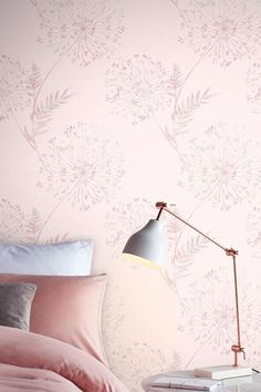 A digital wallpaper design with large scale flowers set on a lustre background. Shown in the blush pink colourway #pinkfloralwallpaper #floralwallpaperbedroom