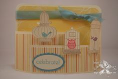 Stamps : Aviary, Something to Celebrate  Cardstock : Very Vanilla, Baja Breeze, Sunny Garden DSP  Ink : Crumb Cake, Baja Breeze, Regal Rose, Perfect Plum  Accessories : Baja Breeze Seam Binding Ribbon, Scallop Oval and Oval Punches, Bendy Fold Card Tutorial!