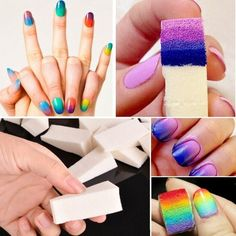 50 Pcs New Fashion Nail Art Sponge Transfer Kit Nail Sponge Clean Tool Nail Art Diy, Easy Nail Art, Cool Nail Art, Diy Nails, Cute Nails, Fashion Nail Art, Nailart, Diy Ombre, Clean Nails