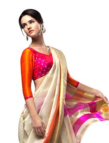 Off white and bright color combo kanchivaram silk saree from Jayalakshmi silks Indian Attire, Indian Ethnic Wear, Indian Dresses, Indian Outfits, Indian Clothes, Traditional Sarees, Traditional Outfits, Ethnic Fashion, Asian Fashion