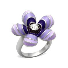 Pretty Purple & Lilac Crystal Flower Ring ~ Stainless Steel