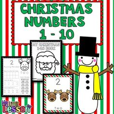 A Christmas themed Numbers 1-10 book. Each number page includes 5 activities to support number recognition and representation. There is also a set of 10 full page poster charts for each of the numbers 1-10. #mylittlelesson https://www.teacherspayteachers.com/Product/Christmas-Numbers-2230291
