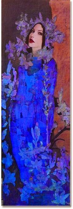 blue - azul - woman - mulher - dress - vestido - painting - pintura -Richard Burlet