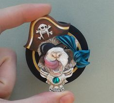 CUSTOMIZABLE Pirate Ferret Sculpted Brooch by dreamtrappings